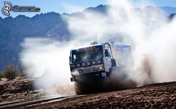 large truck, water, splash