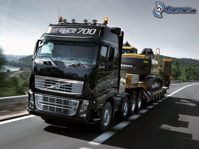 Volvo, truck, road, excavator