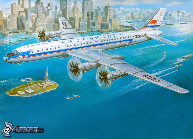 aircraft, sea, city
