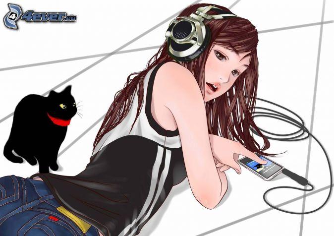 anime girl, girl with headphones, black cat