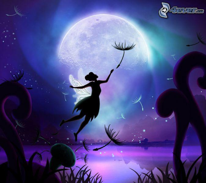 fairy, dandelion, moon, mountains, cartoon landscape