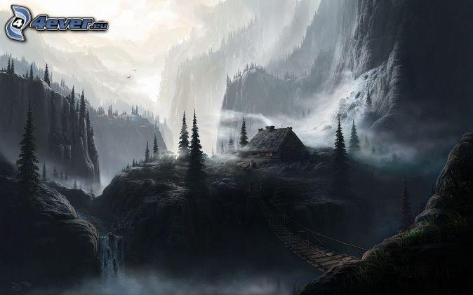 fantasy land, cottage, rocky mountains, wooden bridge, black and white