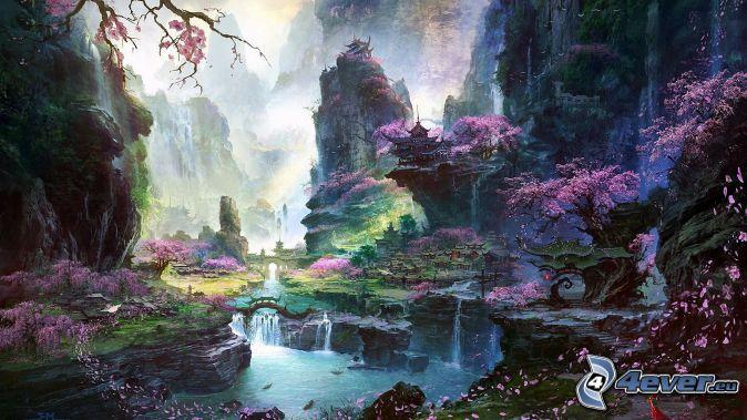 fantasy land, pink tree, River, houses