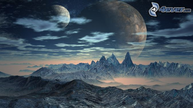 fantasy land, snowy mountains, moons