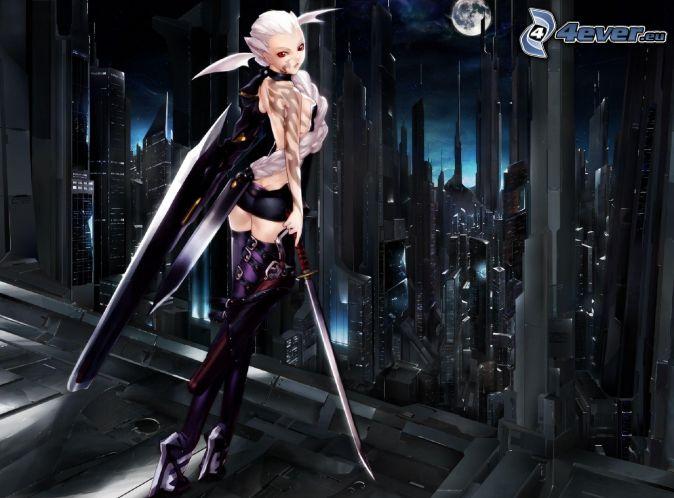fantasy woman, skyscrapers