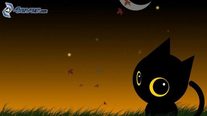 black cat, night, moon, autumn leaves