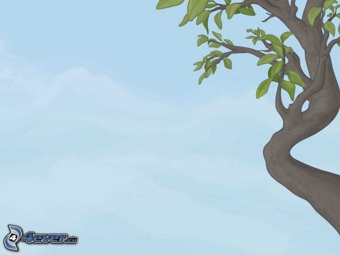 Tree Cartoon Background Cartoon Tree Blue Background