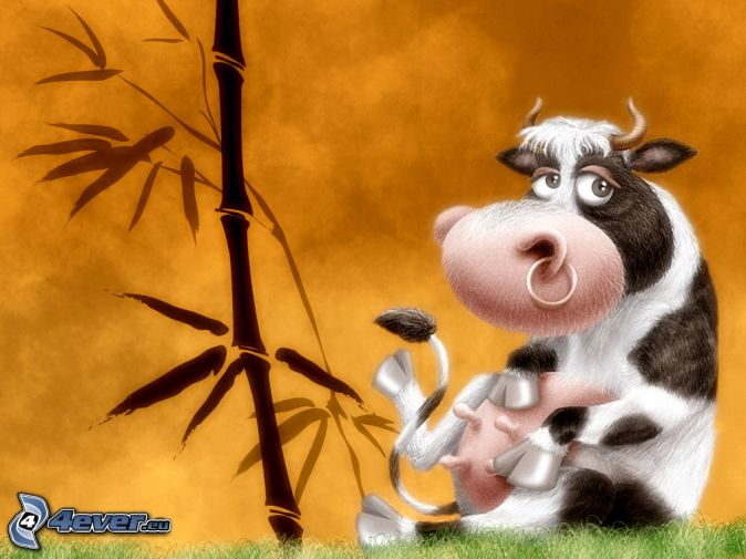 cow, bamboo