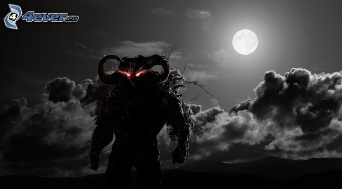 cartoon demon, full moon, moon, night, clouds