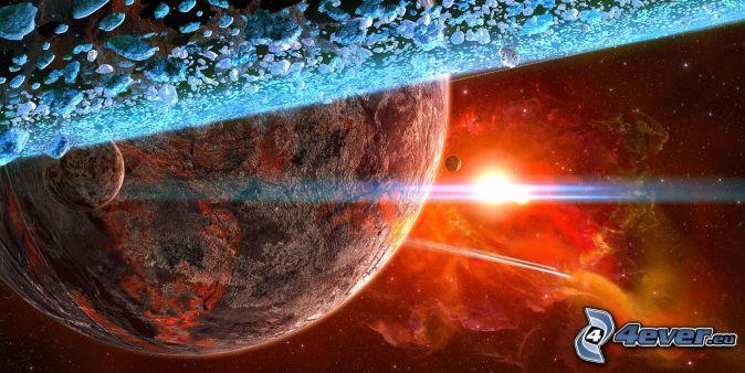 planets, nebula, sun