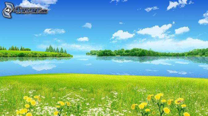 sea, islands, meadow, clouds