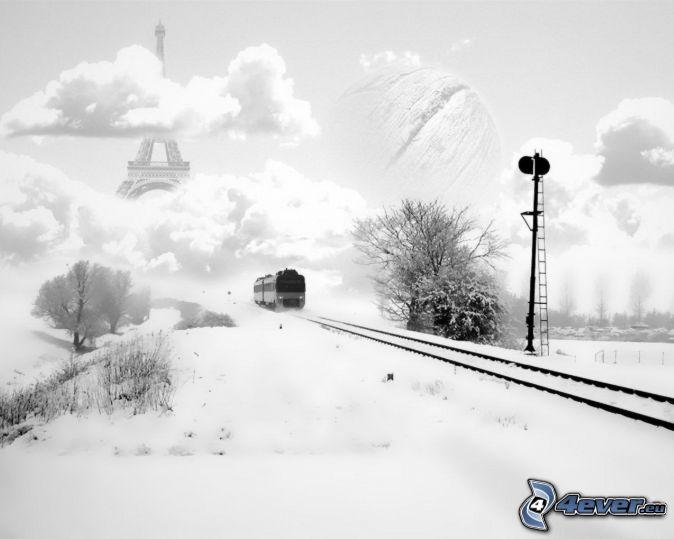 train, snow, rails, clouds, Eiffel Tower