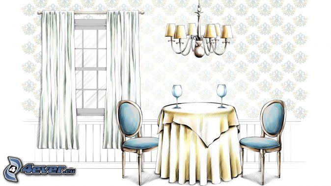 dining room, cartoon, window, curtain, Lamp, table, chairs