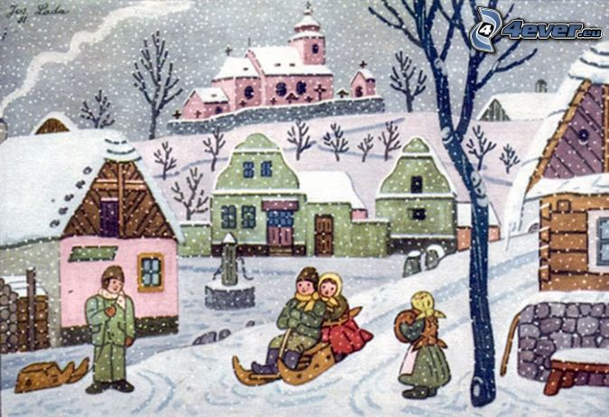 Josef Lada's Winter, ice sledding, cartoon village