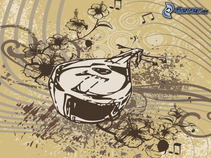 mandolin, lines, cartoon flowers, sheet of music