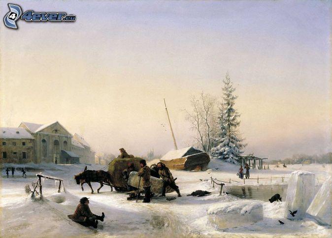 men, snowy landscape