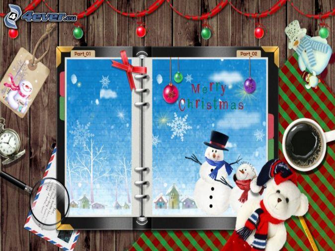Merry Christmas, teddy bear, snowmen