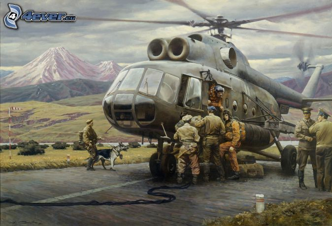 military helicopter, soldiers