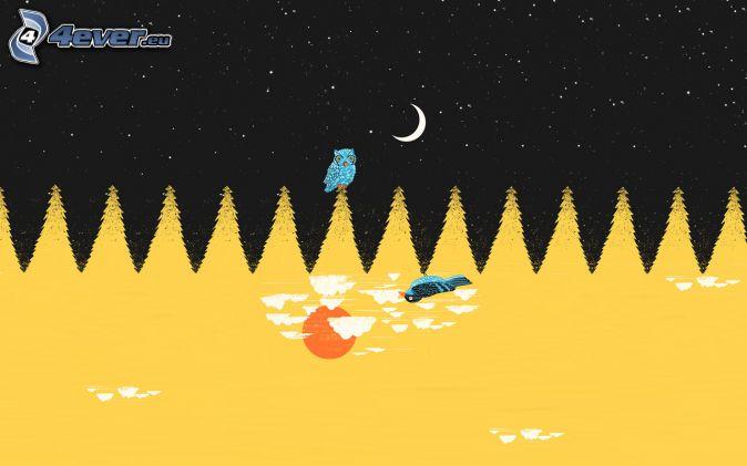 night landscape, owl, trees, night sky