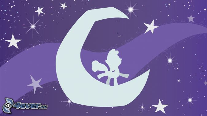 pony, moon, stars