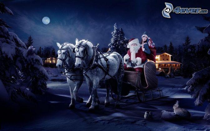 Santa Claus, sled, night