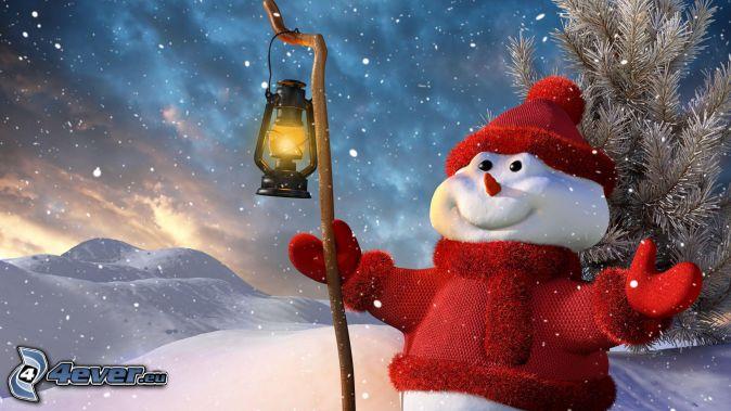 snowman, lantern, snowfall, snowy landscape