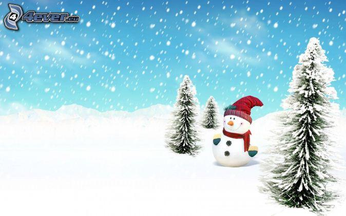 snowman, snowy trees, snowfall