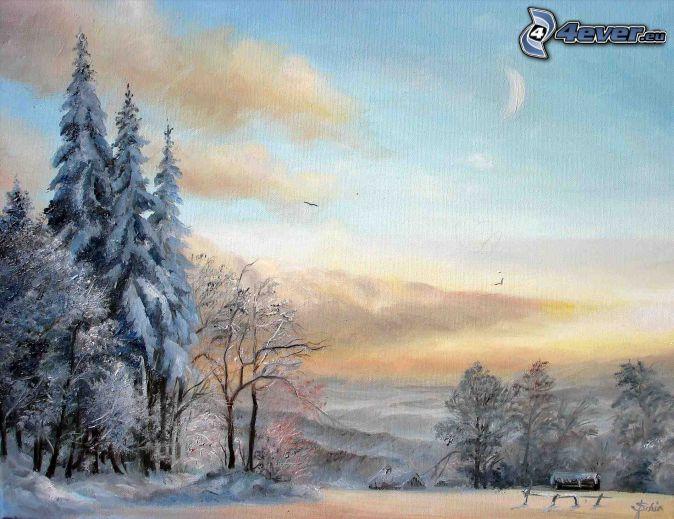 snowy landscape, cartoon