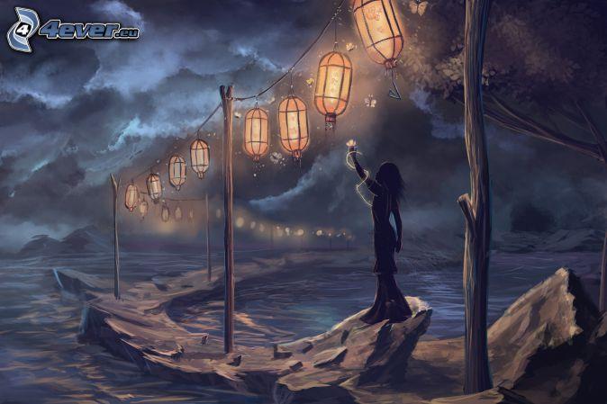 woman silhouette, lanterns, rocks, sea, dark clouds