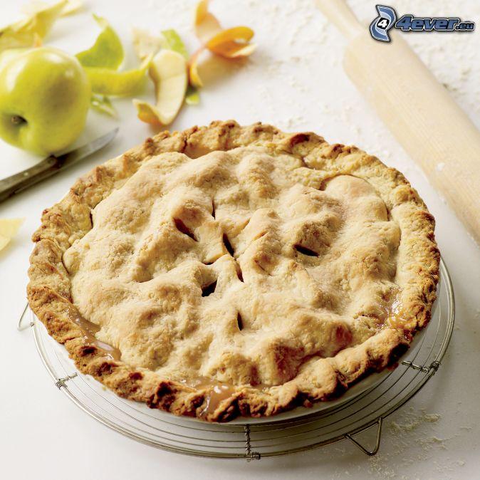 apple pie, green apple, knife