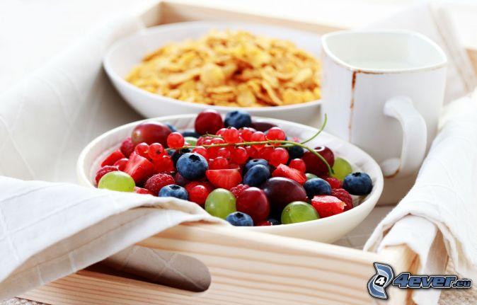 breakfast, fruit, corn flakes, blueberries, redcurrants, strawberries, raspberries, grapes, cup