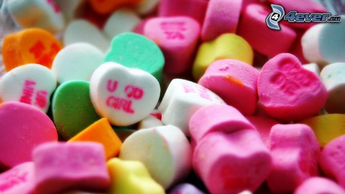 candy, colorful hearts