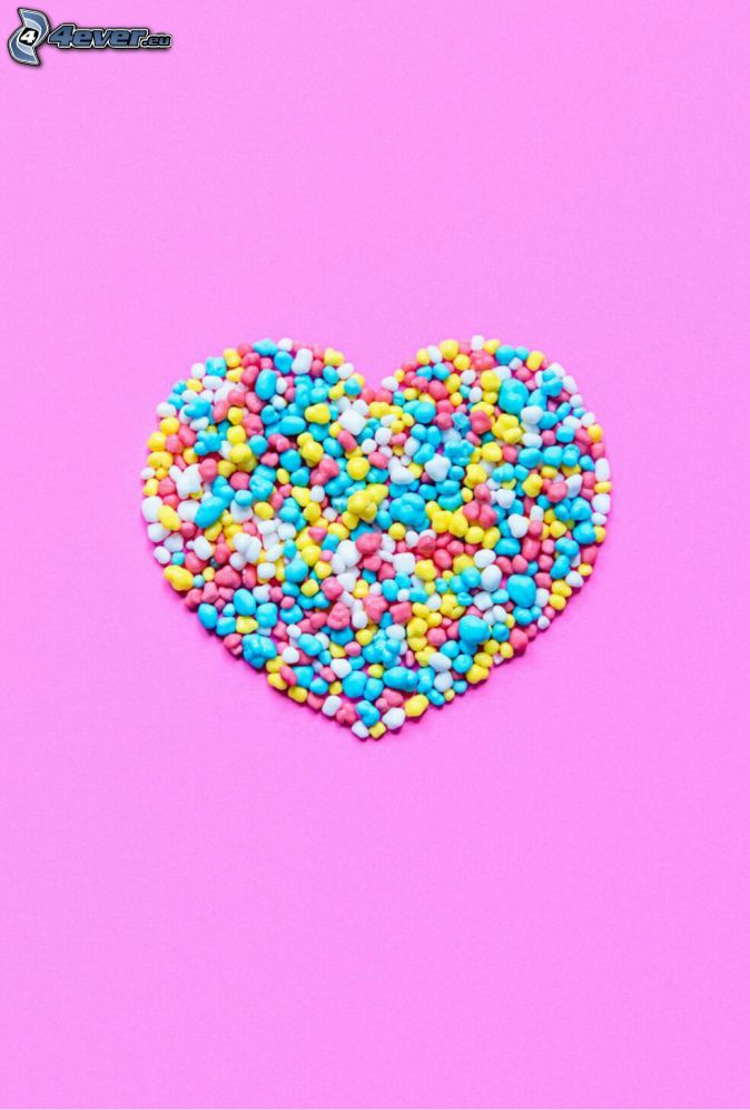 candy, heart, pink background
