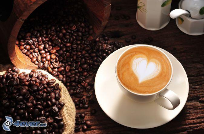 cappuccino, foam, heart, coffee beans