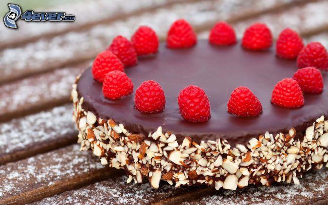 chocolate cake, nuts, raspberries