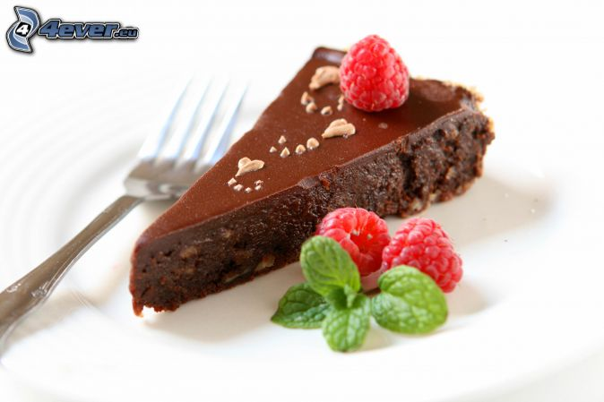 chocolate cake, piece of cake, raspberries, mint, fork