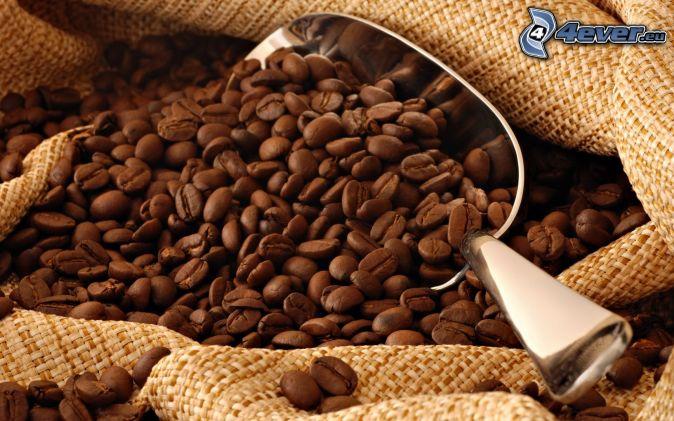 coffee beans, scoop, sack
