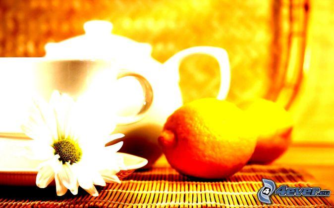 cup of tea, teapot, lemons