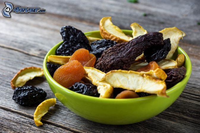 dried apples, dried apricots, prunes