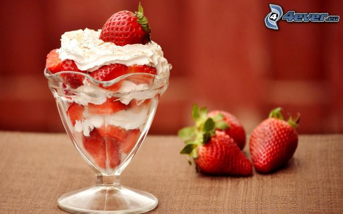 fruit cup, strawberries, cream