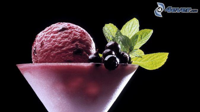 ice cream, blackcurrants, mint leaves