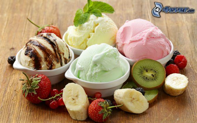 ice cream, fruit, kiwi, bananas, strawberry, redcurrants, raspberries