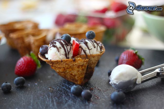 ice cream with fruit, blueberries
