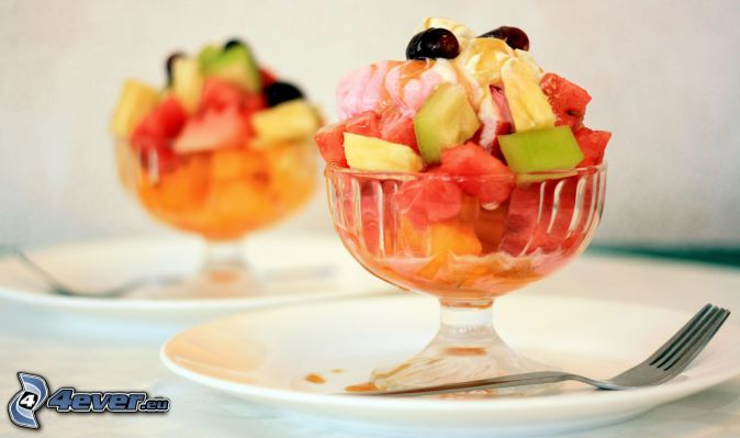 ice cream with fruit, fork