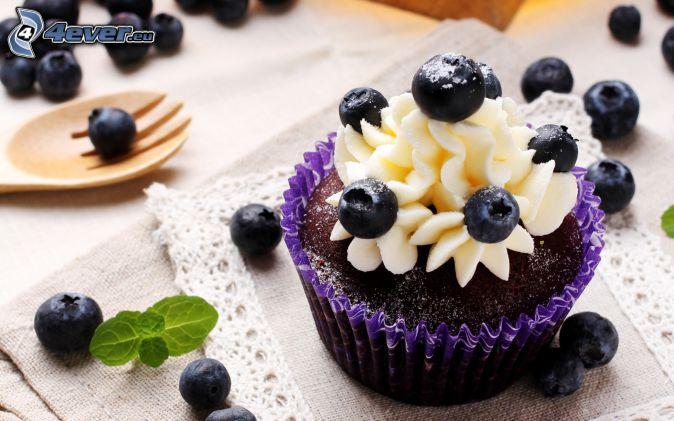 muffins, blueberries, cream, mint