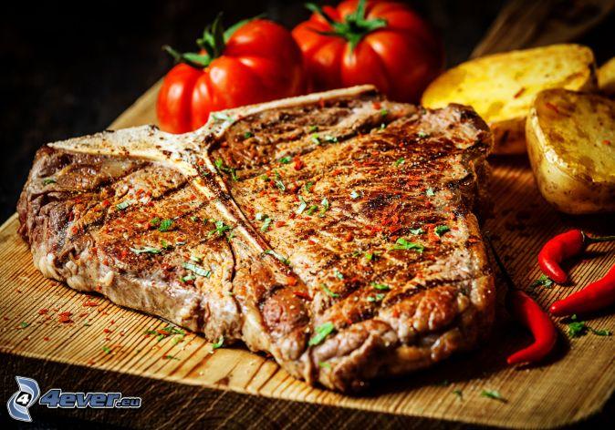 steak, tomatoes, potatoes, red chilli pepper