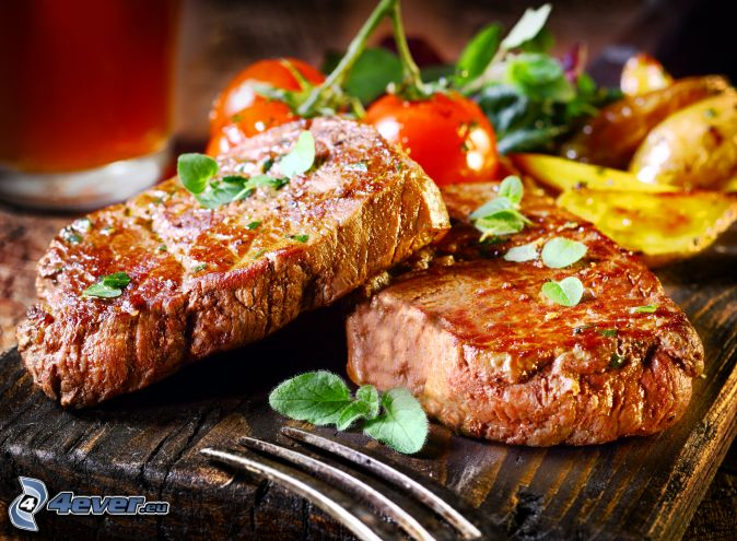 steak, tomatoes, potatoes
