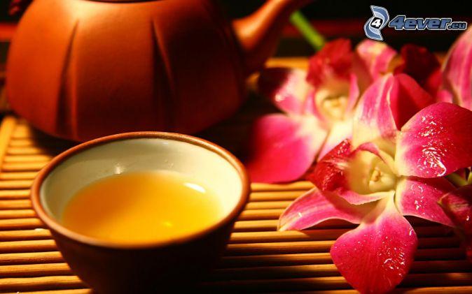 teapot, cup of tea, orchids