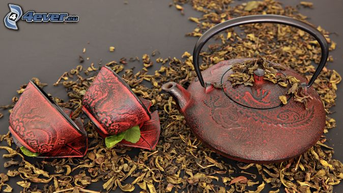 teapot, cups, dry leaves