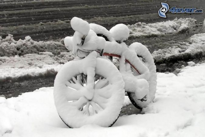 bicycle, snow